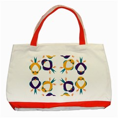 Pattern Circular Birds Classic Tote Bag (red)