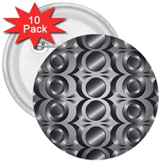 Metal Circle Background Ring 3  Buttons (10 Pack)