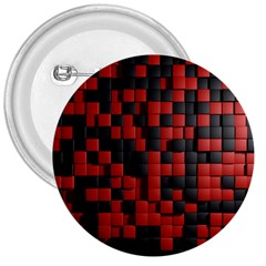 Black Red Tiles Checkerboard 3  Buttons