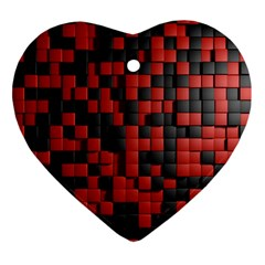 Black Red Tiles Checkerboard Ornament (heart)