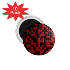 Black Red Tiles Checkerboard 1.75  Magnets (10 pack)