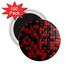 Black Red Tiles Checkerboard 2.25  Magnets (100 pack)