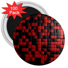 Black Red Tiles Checkerboard 3  Magnets (100 Pack)