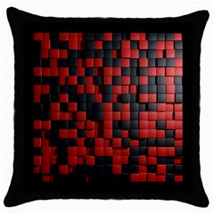 Black Red Tiles Checkerboard Throw Pillow Case (Black)