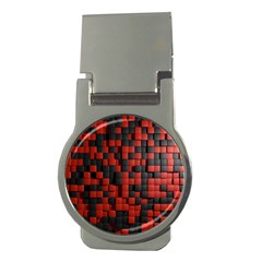 Black Red Tiles Checkerboard Money Clips (round)