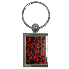 Black Red Tiles Checkerboard Key Chains (rectangle)
