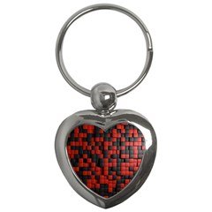 Black Red Tiles Checkerboard Key Chains (heart)