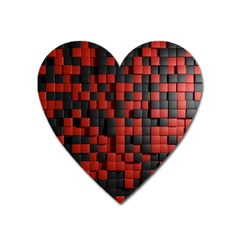Black Red Tiles Checkerboard Heart Magnet