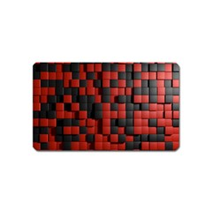 Black Red Tiles Checkerboard Magnet (Name Card)