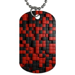 Black Red Tiles Checkerboard Dog Tag (two Sides)