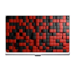 Black Red Tiles Checkerboard Business Card Holders