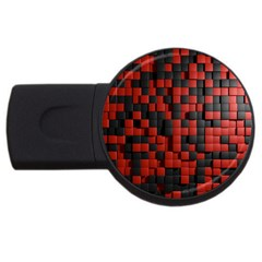 Black Red Tiles Checkerboard Usb Flash Drive Round (2 Gb)