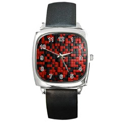 Black Red Tiles Checkerboard Square Metal Watch