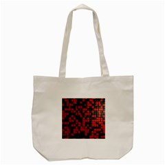 Black Red Tiles Checkerboard Tote Bag (Cream)