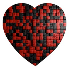 Black Red Tiles Checkerboard Jigsaw Puzzle (heart)