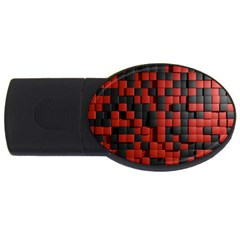 Black Red Tiles Checkerboard Usb Flash Drive Oval (4 Gb)