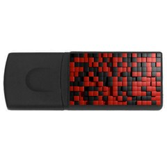 Black Red Tiles Checkerboard Usb Flash Drive Rectangular (4 Gb)