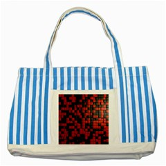 Black Red Tiles Checkerboard Striped Blue Tote Bag
