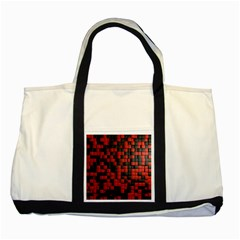 Black Red Tiles Checkerboard Two Tone Tote Bag