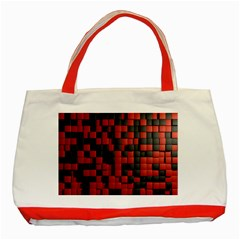 Black Red Tiles Checkerboard Classic Tote Bag (red)