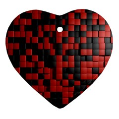 Black Red Tiles Checkerboard Heart Ornament (two Sides)