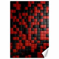Black Red Tiles Checkerboard Canvas 12  x 18