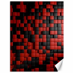 Black Red Tiles Checkerboard Canvas 36  X 48