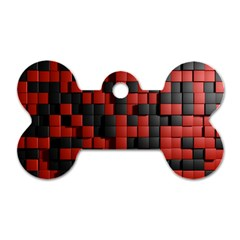 Black Red Tiles Checkerboard Dog Tag Bone (one Side)