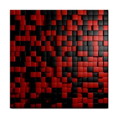 Black Red Tiles Checkerboard Face Towel