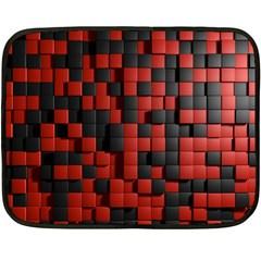 Black Red Tiles Checkerboard Fleece Blanket (Mini)