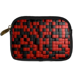 Black Red Tiles Checkerboard Digital Camera Cases