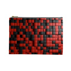 Black Red Tiles Checkerboard Cosmetic Bag (large)