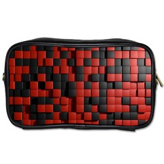 Black Red Tiles Checkerboard Toiletries Bags 2 Side