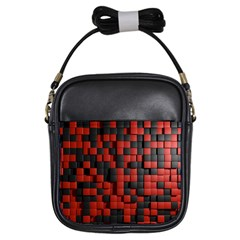 Black Red Tiles Checkerboard Girls Sling Bags
