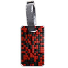 Black Red Tiles Checkerboard Luggage Tags (one Side)