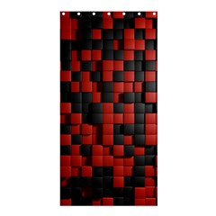 Black Red Tiles Checkerboard Shower Curtain 36  X 72  (stall)