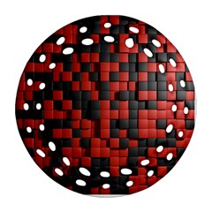 Black Red Tiles Checkerboard Round Filigree Ornament (Two Sides)
