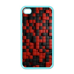 Black Red Tiles Checkerboard Apple iPhone 4 Case (Color)