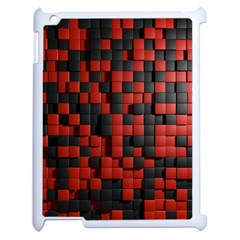 Black Red Tiles Checkerboard Apple iPad 2 Case (White)