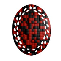 Black Red Tiles Checkerboard Oval Filigree Ornament (Two Sides)