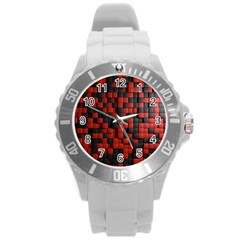 Black Red Tiles Checkerboard Round Plastic Sport Watch (L)