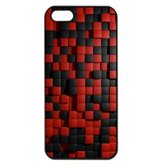 Black Red Tiles Checkerboard Apple iPhone 5 Seamless Case (Black)