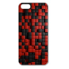 Black Red Tiles Checkerboard Apple Seamless iPhone 5 Case (Clear)