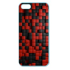 Black Red Tiles Checkerboard Apple Seamless Iphone 5 Case (color)