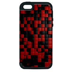 Black Red Tiles Checkerboard Apple Iphone 5 Hardshell Case (pc+silicone)