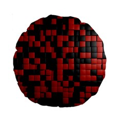 Black Red Tiles Checkerboard Standard 15  Premium Round Cushions