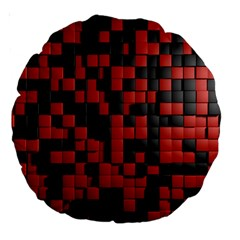 Black Red Tiles Checkerboard Large 18  Premium Round Cushions