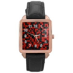 Black Red Tiles Checkerboard Rose Gold Leather Watch