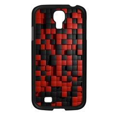 Black Red Tiles Checkerboard Samsung Galaxy S4 I9500/ I9505 Case (Black)