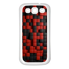 Black Red Tiles Checkerboard Samsung Galaxy S3 Back Case (white)